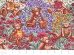 """Garden Party""© - Floral Print with Teddy Bears"