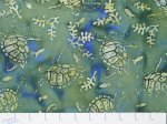 Hand Painted Bali - Green/Blue background w/turtles